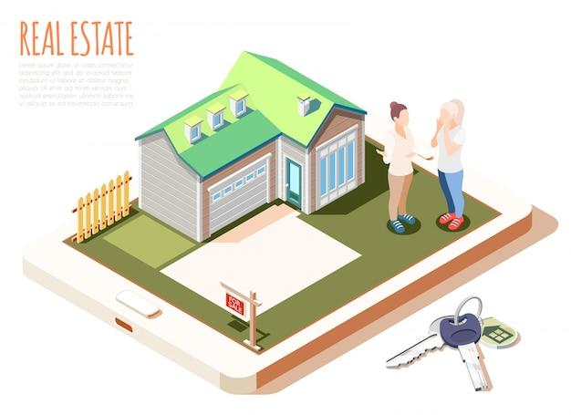 Isometrische zusammensetzung der vergrößerten realität der immobilien mit nettem gemütlichem haus mit illustration des grünen dachs Kostenlosen Vektoren