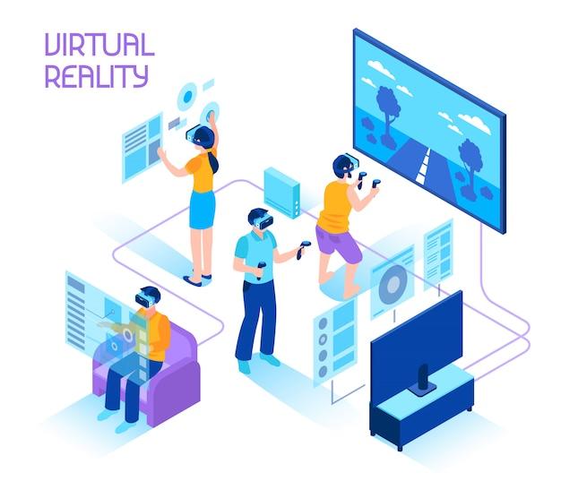 Isometrische zusammensetzung der virtuellen realität Kostenlosen Vektoren