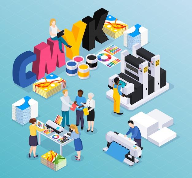 Isometrische zusammensetzung der werbeagentur-druckerei mit den kundendesignerarbeitskräften, die bunte presseanzeigen-materialillustration produzieren Kostenlosen Vektoren