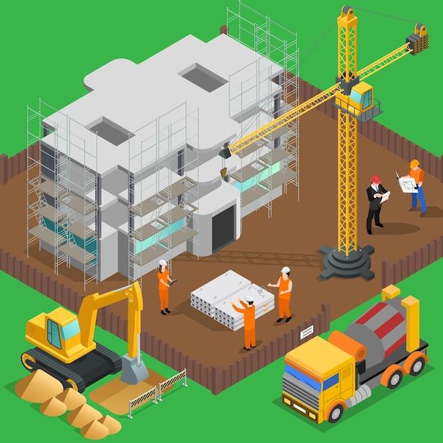 Isometrische zusammensetzung des baus mit blick auf hochhaushof mit arbeiterfahrzeugen und -maschinen Kostenlosen Vektoren