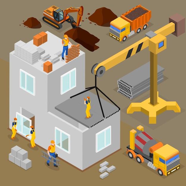 Isometrische zusammensetzung des baus mit menschlichen charakteren von arbeitern und bauherren während des von maschinen betriebenen bauprozesses Kostenlosen Vektoren