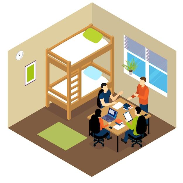 Isometrische zusammensetzung des bildungsstudenten Kostenlosen Vektoren