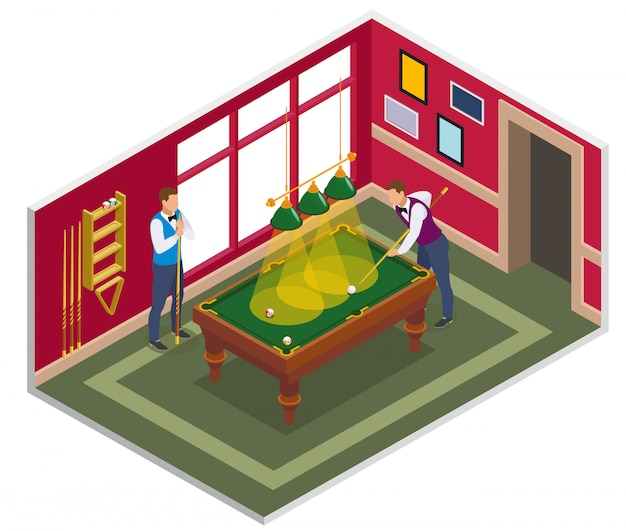 Isometrische zusammensetzung des billards mit ansicht des innenbillardspielzimmers mit möbeln und charakteren von leuten Kostenlosen Vektoren
