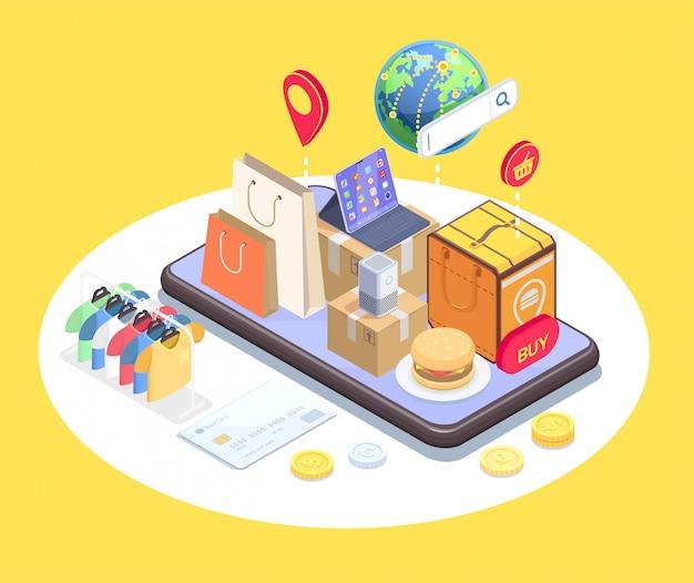Isometrische zusammensetzung des einkaufs-e-commerce mit konzeptionellem bild des telefons und der gegenstände auf touchscreen-vektorillustration Kostenlosen Vektoren
