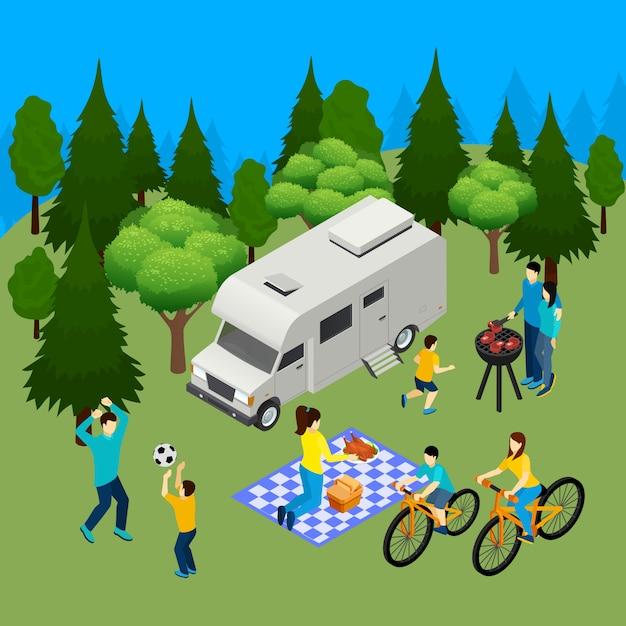 Isometrische zusammensetzung des familienpicknick-sommers im freien mit wohnmobil im waldgrill-mittagessen, das ball spielt vektorillustration Kostenlosen Vektoren