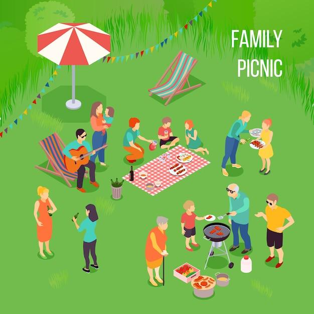 Isometrische zusammensetzung des familienpicknicks Kostenlosen Vektoren