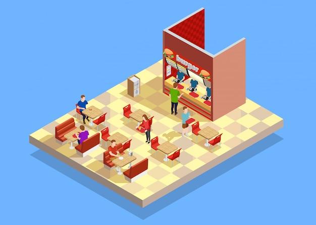Isometrische zusammensetzung des food court counter area Kostenlosen Vektoren