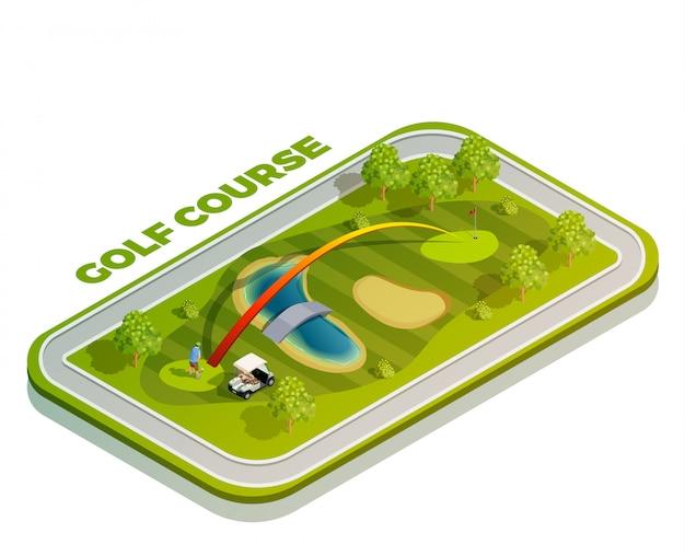 Isometrische zusammensetzung des golfplatzes Premium Vektoren