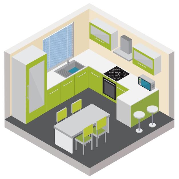 Isometrische zusammensetzung des kücheninnenraums mit modernen haushaltsgeräten und unterhaltungselektronik Kostenlosen Vektoren