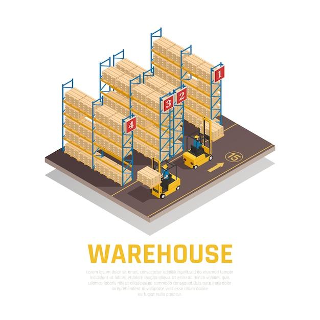 Isometrische zusammensetzung des lagers von gestellen mit kästen und von arbeitskräften, die fracht durch gabelstapler laden Kostenlosen Vektoren