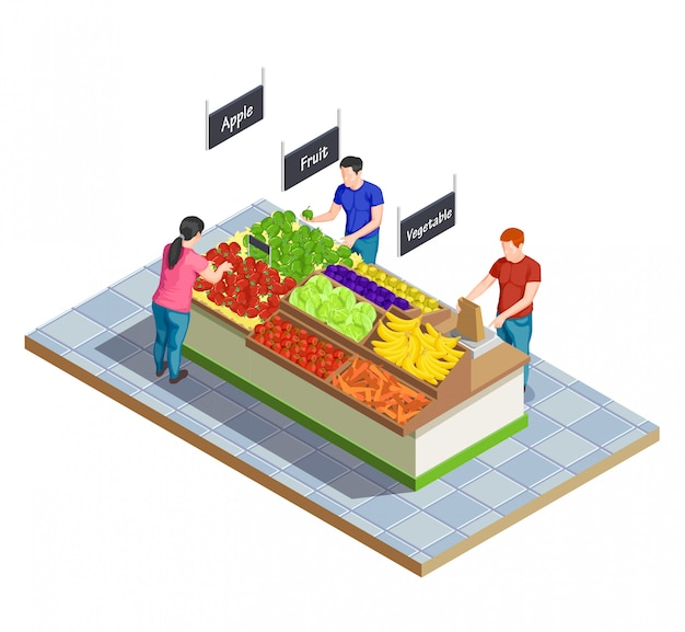 Isometrische zusammensetzung des lebensmittelmarktes Kostenlosen Vektoren