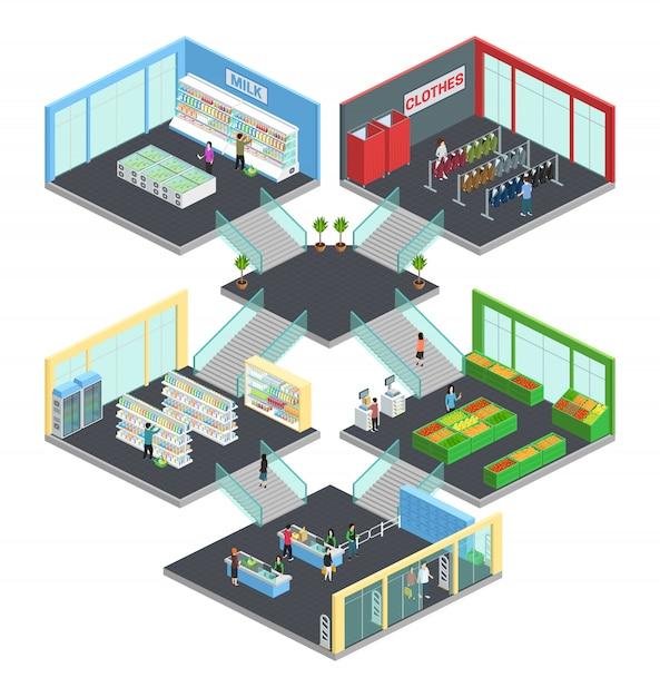 Isometrische zusammensetzung des multistore-supermarktes mit kleidung und milchsymbolen vector illustration Kostenlosen Vektoren