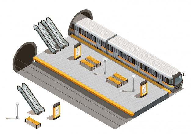 Isometrische zusammensetzung des öffentlichen stadtverkehrs mit rolltreppen und bänken für unterirdische fahrzeuge Kostenlosen Vektoren