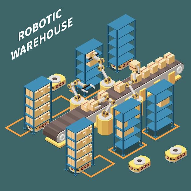 Isometrische zusammensetzung des roboterlagers mit der vektorillustration der roboterverpackungswaren 3d Kostenlosen Vektoren