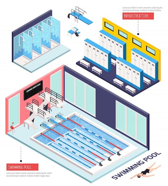 Isometrische zusammensetzung des schwimmbades mit infrastruktur, isolierte vektorillustration Kostenlosen Vektoren