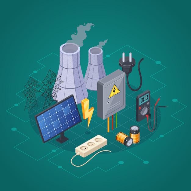 Isometrische zusammensetzung des stroms mit symbolen der elektrischen leistung und der energie vector illustration Kostenlosen Vektoren