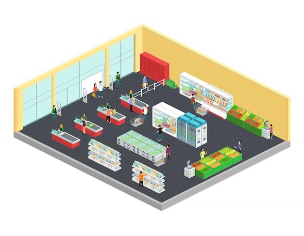 Isometrische zusammensetzung des supermarktes mit lebensmittel- und getränkesymbolen vector illustration Kostenlosen Vektoren