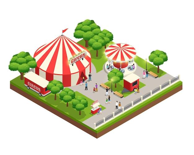 Isometrische zusammensetzung des vergnügungsparks mit karussellzirkuszeltticketkassierkiosk und menschen mit kindern Kostenlosen Vektoren