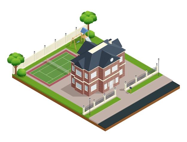 Isometrische zusammensetzung des vororthauses mit sportplatz und bäumen Kostenlosen Vektoren