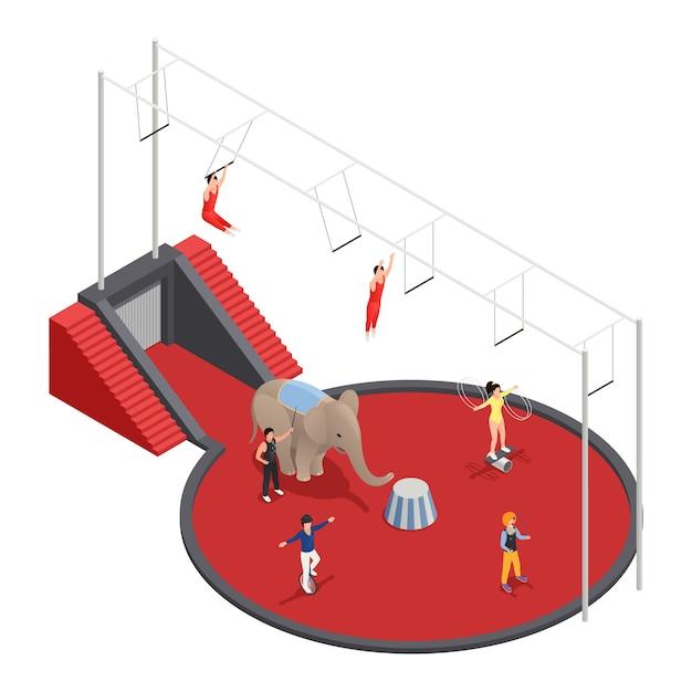 Isometrische zusammensetzung des zirkus mit luftakrobatenelefanten mit dem trainer und clown, die an der arena durchführen Kostenlosen Vektoren