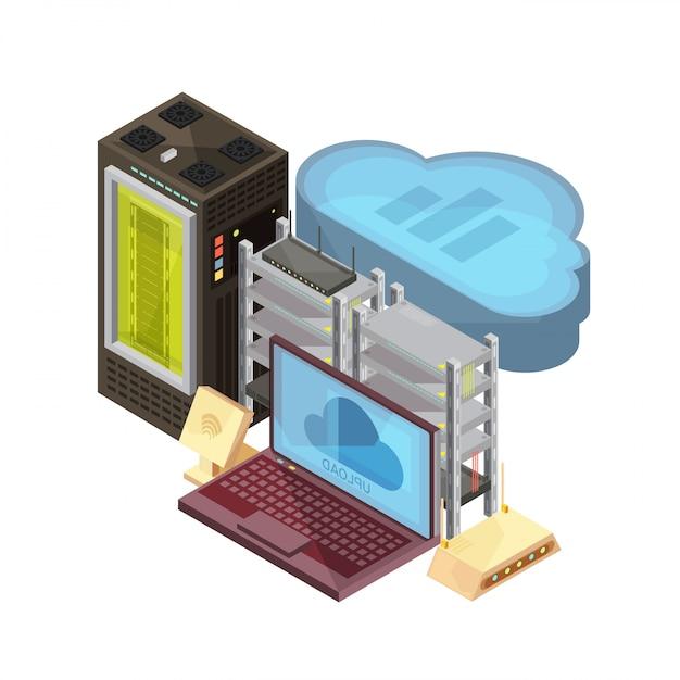 Isometrische zusammensetzung mit datenwolke, laptop, hosting-server, router, wifi auf weißer hintergrundvektorillustration Kostenlosen Vektoren