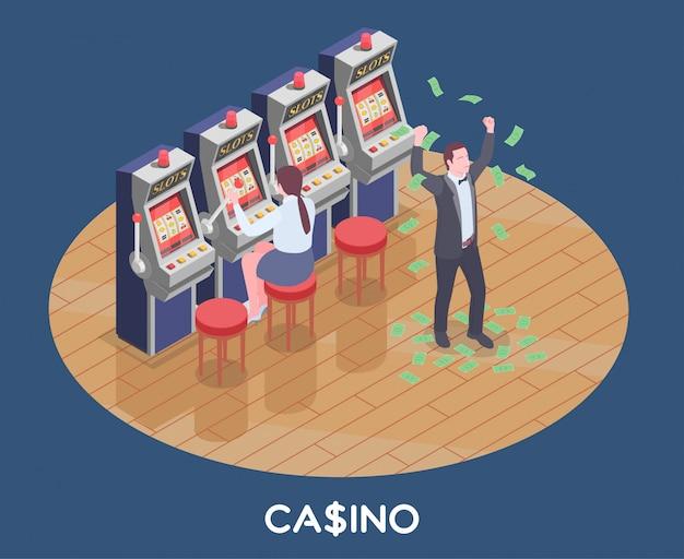 Isometrische zusammensetzung mit frau, die spielautomatenspiel spielt und mann gewann geld im kasino 3d Kostenlosen Vektoren