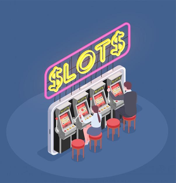 Isometrische zusammensetzung mit leuten, die spielautomaten im kasino 3d spielen Kostenlosen Vektoren