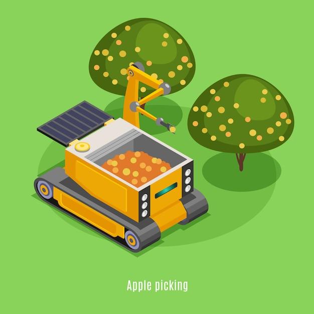 Isometrische zusammensetzung von landwirtschaftlichen ernterobotern mit automatisierten roboterarmmaschinen, die früchte vom baumhintergrund pflücken Kostenlosen Vektoren