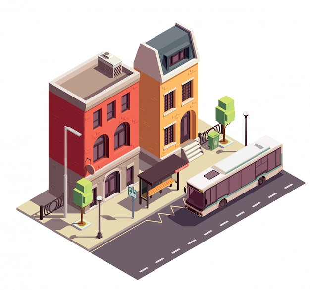 Isometrische zusammensetzung von stadthausgebäuden mit bushaltestelle im freien und zwei wohnhäusern auf der stadtstraße Kostenlosen Vektoren