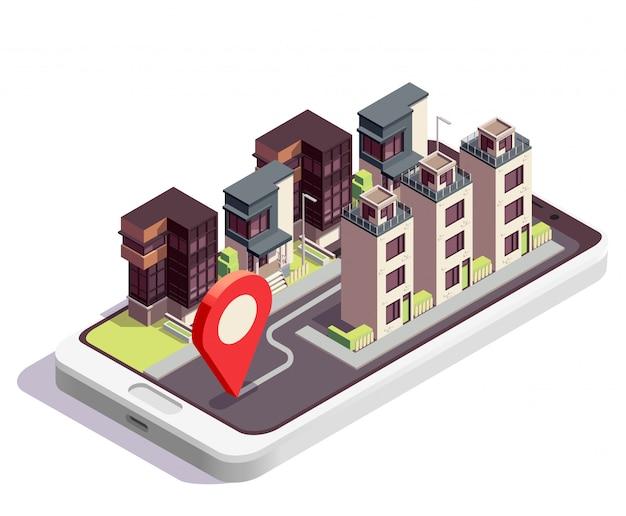 Isometrische zusammensetzung von stadthausgebäuden mit moderner stadtblocklandschaft mit hausgruppe und ortsschild Kostenlosen Vektoren
