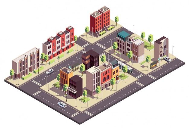 Isometrische zusammensetzung von stadthausgebäuden mit stadtlandschaft und straßen mit stadtblöcken, lebenden häusern und autos Kostenlosen Vektoren