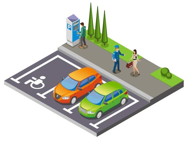 Isometrische zusammensetzung zum parken Kostenlosen Vektoren