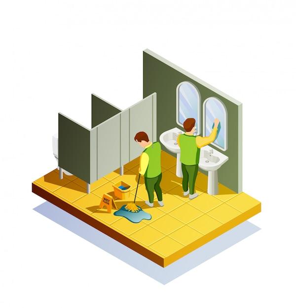 Isometrische zusammensetzung zur reinigung von schränken Kostenlosen Vektoren