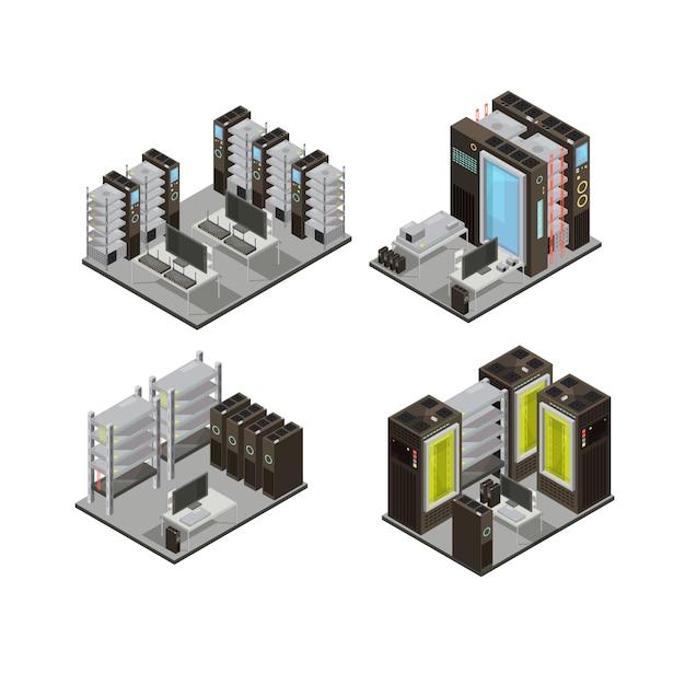 Isometrische zusammensetzungen des rechenzentrums einschließlich hosting-servern für cloud-services mit workstation für die verwaltung lokalisierten vektorillustration Kostenlosen Vektoren
