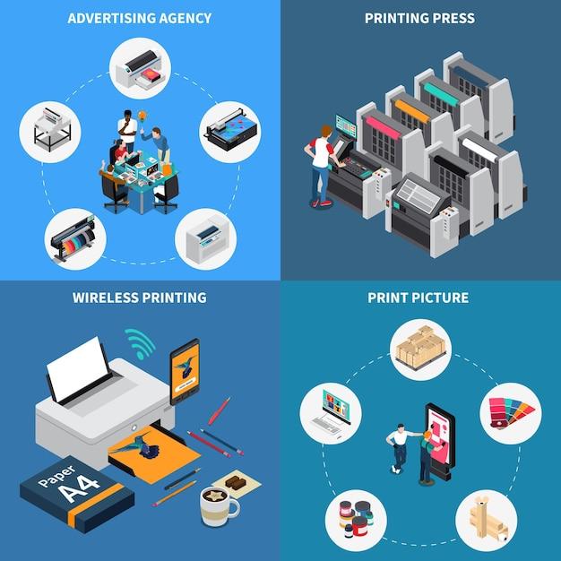 Isometrische zusammensetzungen des werbeagentur-druckereikonzeptes 4 mit der digitaltechnik, die bildpressegerät schafft Kostenlosen Vektoren