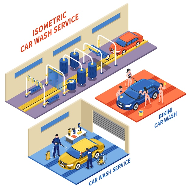 Isometrische zusammensetzungen für autowaschanlagen Kostenlosen Vektoren