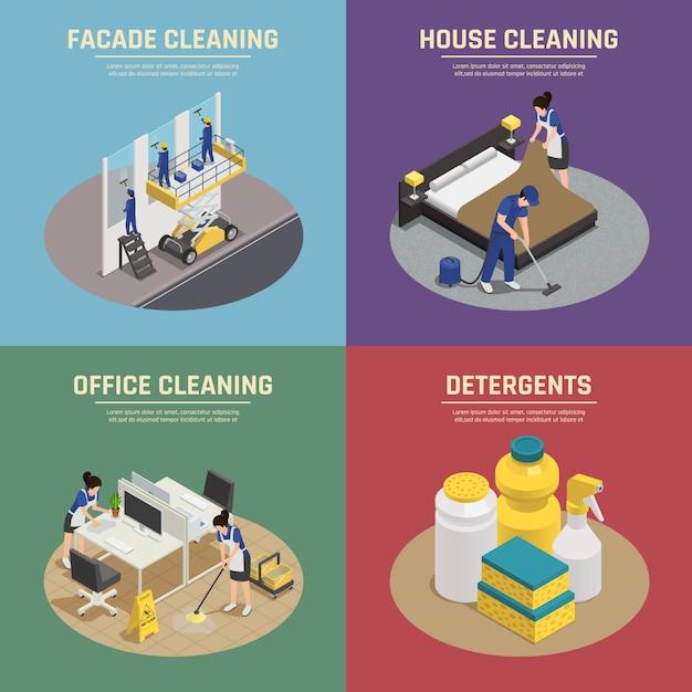 Isometrische zusammensetzungen mit professioneller reinigung von fassadengebäuden Kostenlosen Vektoren