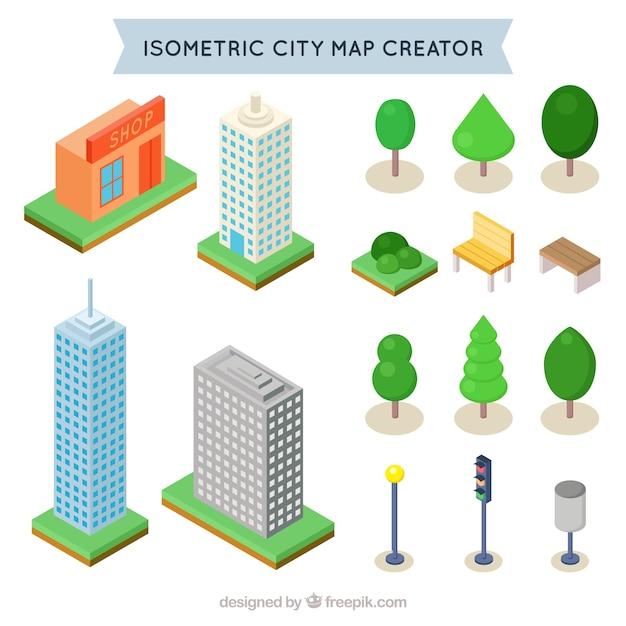 Isometrischen Elemente eine Stadt zu schaffen Kostenlose Vektoren