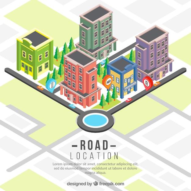 Isometrischen Straßenkarte Hintergrund mit Gebäuden Kostenlose Vektoren