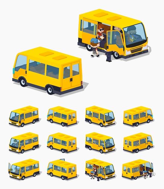 Isometrischer 3d-lowpoly-passagier-minivan Premium Vektoren