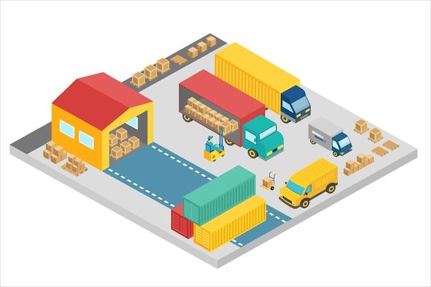 Isometrischer 3d-prozess der lagerfirma. lageraußenbauplatz mit lastwagen und containern. liefergeschäft, frachtlager. Premium Vektoren