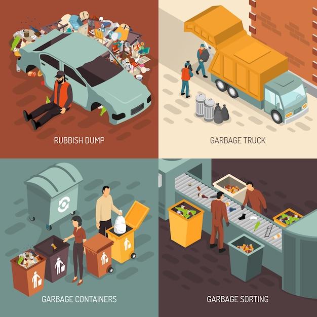Isometrischer abfall, der design-ikonen-satz aufbereitet Kostenlosen Vektoren