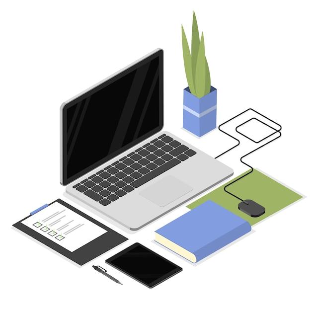 Isometrischer arbeitsplatz mit büromaterial wie laptop, tablet, dokumenten, maus und anlage. arbeitsbereich für büroangestellte und studenten. isoliert Premium Vektoren