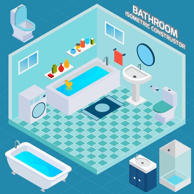 Isometrischer badezimmer-innenraum Kostenlosen Vektoren