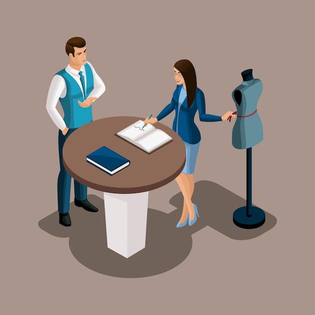 Isometrischer bankdirektor schlägt vor, die dienste der bank in anspruch zu nehmen, das schneidermädchen erwägt das angebot. unternehmer, eigenes geschäft, arbeiten sie für sich Premium Vektoren