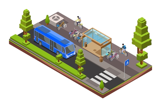 isometrischer Bus-Stopp-Querschnitt. Glasstation der Stadt 3d mit geparkten Fahrrädern, Radfahrer Kostenlose Vektoren