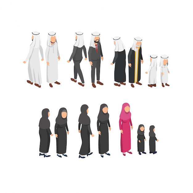 Isometrischer charakterentwurf, der arabische traditionelle kleidung trägt Premium Vektoren