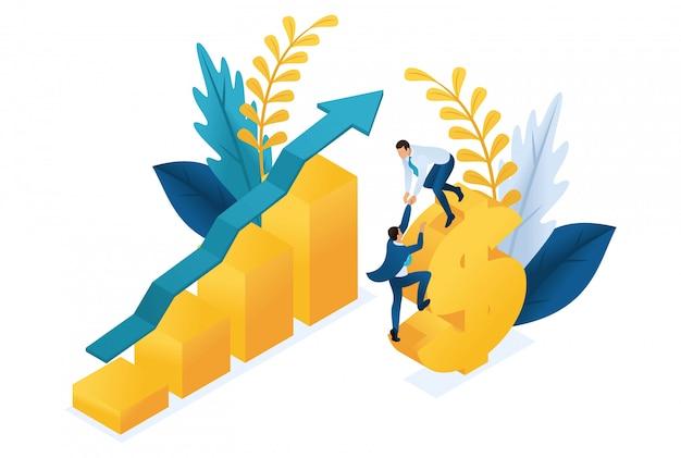 Isometrischer erfolg von investitionen, geschäftsleute investieren erfolgreich geld. Premium Vektoren