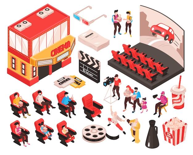 Isometrischer filmkinosatz lokalisierte elementtheatergebäude-publikumsitze und zubehör der filmbeobachterillustration Kostenlosen Vektoren