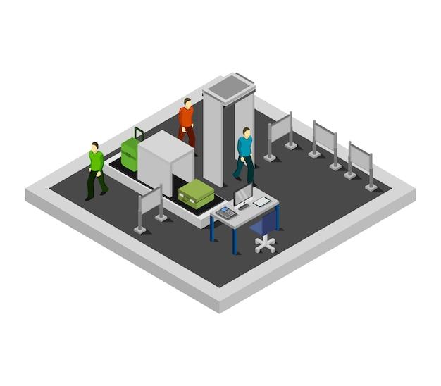 Isometrischer flughafen check-in Kostenlosen Vektoren